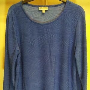 JM Collection Women's Jacquard Long Sleeve Blouse